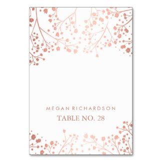 wedding escort cards baby's breath rose gold