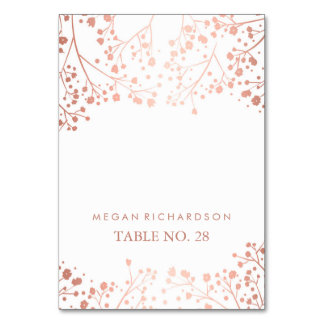 wedding escort cards baby's breath rose gold table cards