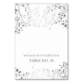 wedding escort cards baby's breath silver - white