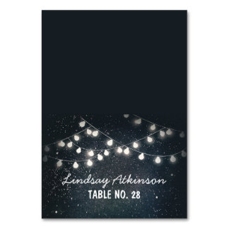 wedding escort cards starry night string lights