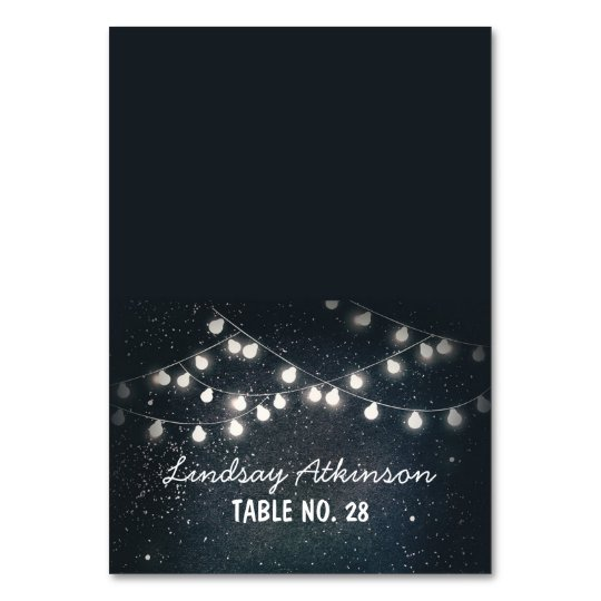 wedding escort cards starry night string lights table
