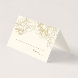 Wedding Escort Place Card | Gold Peony