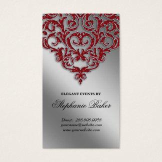 Wedding Event Planner Damask Red Sparkle Silver