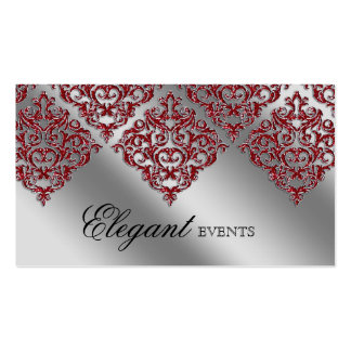 Wedding Event Planner Damask Red Sparkle Silver Business Card Template