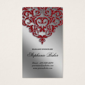 Wedding Event Planner Damask Red Sparkle Silver Business Card