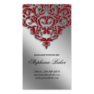 Wedding Event Planner Damask Red Sparkle Silver Pack Of Standard Business Cards