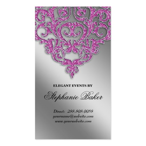 Create your own wedding planner business cards page9 wedding event planner damask silver sparkle pink v business card template fbccfo Images