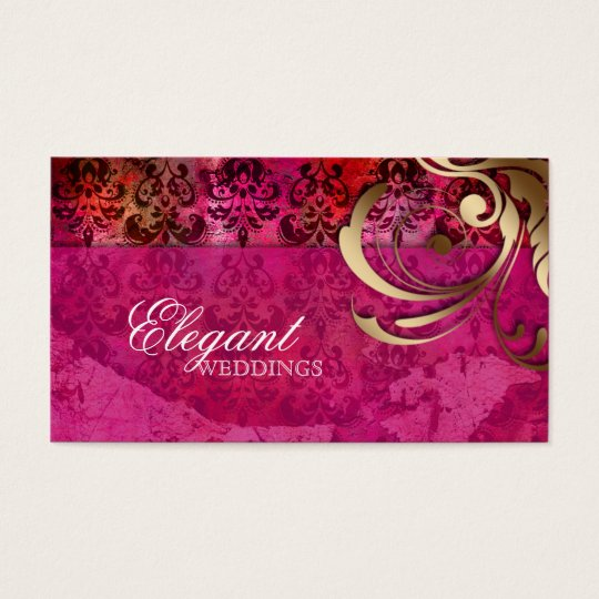 Wedding Event Planner Indian Damask Pink Gold Business
