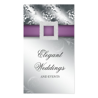Wedding Event Planner Jewel Purple Silver V Business Card Template