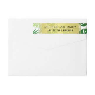Wedding | Exotic Green Tropical Leaves Wrap Around Label