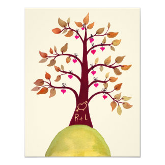 "Wedding Fall Autumn Love Heart Tree Carving Invite 4.25"" X 5.5"" Invitation Card"