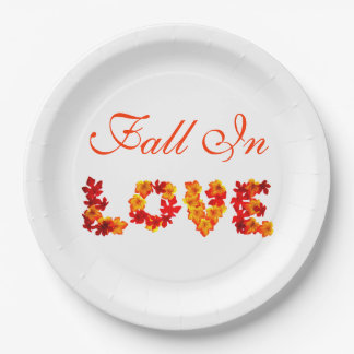 Wedding Fall In Love Colourful Leaves Autumn 9 Inch Paper Plate