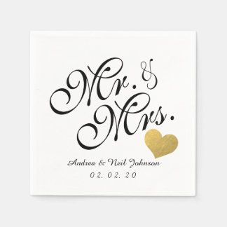 Wedding Faux Gold Foil Heart Elegant Mr. and Mrs. Disposable Napkins