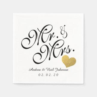 Wedding Faux Gold Foil Heart Elegant Mr. and Mrs. Disposable Serviette