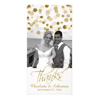 Wedding Faux Gold Glitter Dots Thank You Custom Photo Card