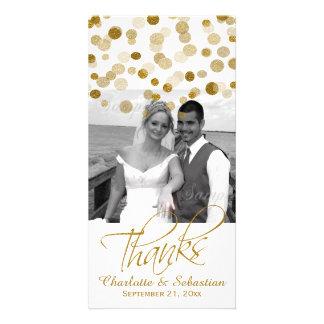 Wedding Faux Gold Glitter Dots Thank You Custom Photo Card