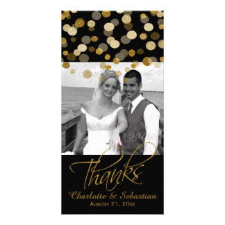 Wedding Faux Gold Glitter Dots Thank You Customized Photo Card