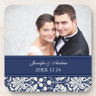 Wedding Favor Blue Damask Photo Coasters