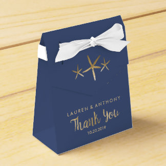 Wedding Favor Box - Thank You, Beach, Navy
