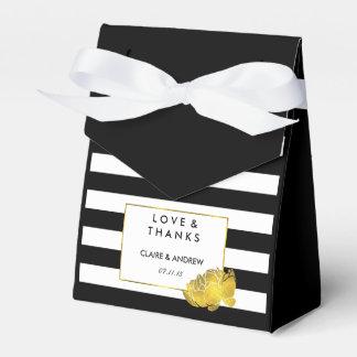 Wedding Favor Boxes | Black Stripe & Gold Peony Favour Box