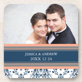 Wedding Favor Coral Blue Damask Photo Coasters