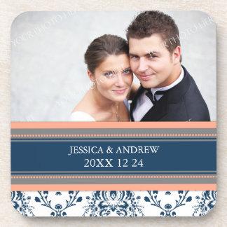 Wedding Favor Coral Blue Damask Photo Coasters