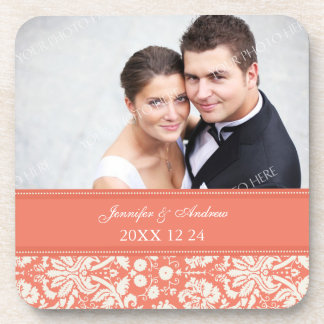Wedding Favor Coral Damask Photo Coasters