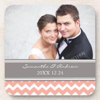 Wedding Favor Coral Grey Chevron Photo Coasters