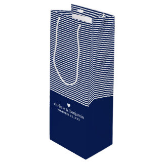 Wedding Favor Custom Bride Groom Date Stripe Wine Gift Bag