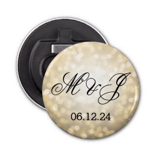 Wedding Favor Gold Glitter Lights Bottle Opener
