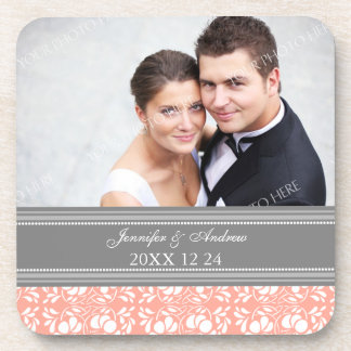 Wedding Favor Gray Coral Damask Photo Coasters