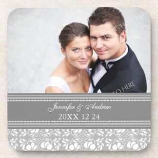 Wedding Favor Gray Damask Photo Coasters