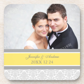 Wedding Favor Gray Lemon Damask Photo Coasters