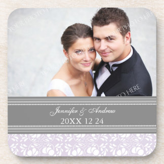 Wedding Favor Gray Lilac Damask Photo Coasters