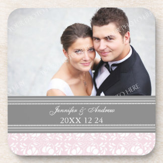 Wedding Favor Gray Pink Damask Photo Coasters