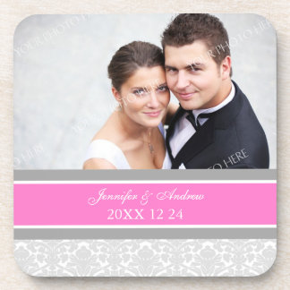 Wedding Favor Gray Pink Damask Photo Coasters