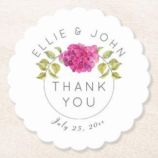 Wedding Favor Hot Pink Hydrangea Paper Coaster