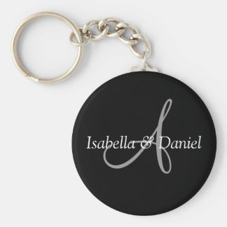 Wedding Favor Keepsake Bride Groom Names Monogram Key Ring