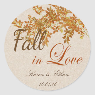 Wedding Favor Label Fall in Love Theme Round Sticker