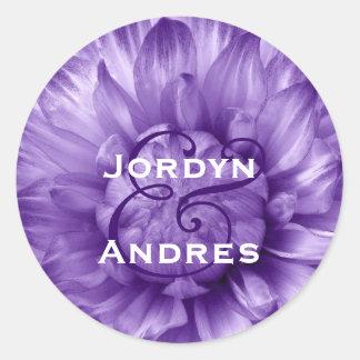 Wedding Favor Label PURPLE Flower Petals S723 Round Sticker