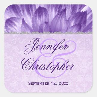 Wedding Favor Label PURPLE Flower Petals V001 Square Sticker