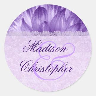 Wedding Favor Label PURPLE Flower Petals V002 Round Sticker