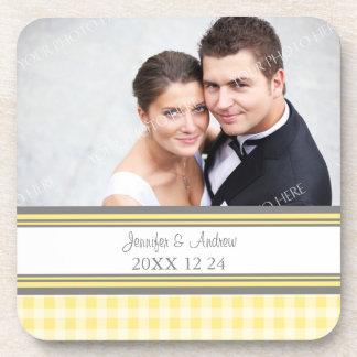 Wedding Favor Lemon Gray Photo Coasters