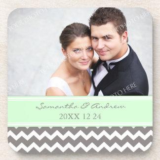 Wedding Favor Mint Grey Chevron Photo Coasters