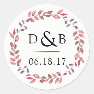 Wedding Favor Monogram Stickers Floral Fall Wreath