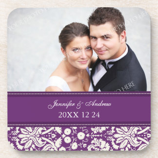 Wedding Favor Plum Damask Photo Coasters
