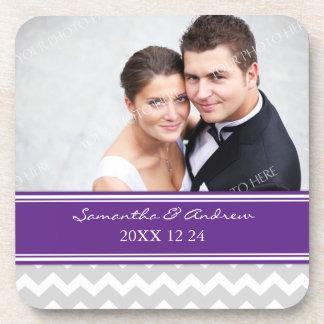 Wedding Favor Plum Grey Chevron Photo Coasters