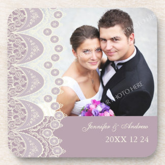 Wedding Favor Purple and Cream Photo Coasters