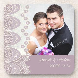 Wedding Favor Purple and Cream Photo Coasters