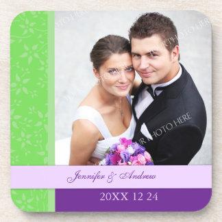 Wedding Favor Purple Lime Photo Coasters
